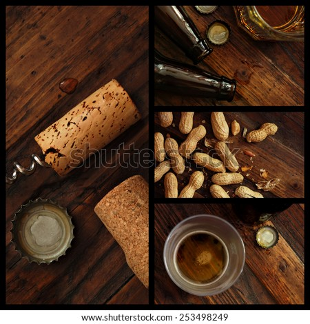 Pub collage includes closeups of near empty beer glasses with bottle caps and bottles, corks with corkscrew, and peanuts on rustic wood background.  Top view images with low key directional lighting. - stock photo