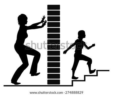 Puberty and Independence. Concept sign of girl in her puberty fighting for self-determination driving her mother crazy - stock photo