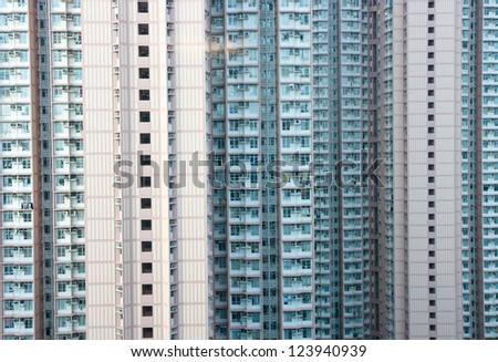 public apartment block in Hong Kong - stock photo