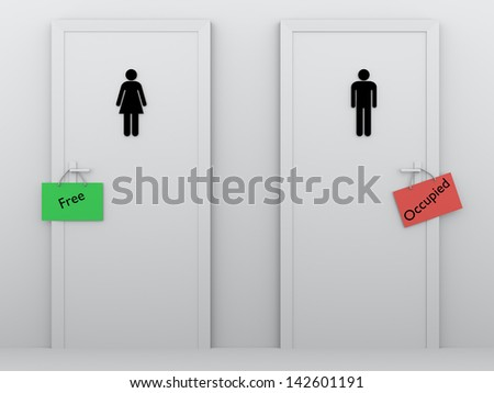 mens and womens bathroom signs. Public Bathrooms For Men And Women With Signs In The Door Handles Mens Womens Bathroom