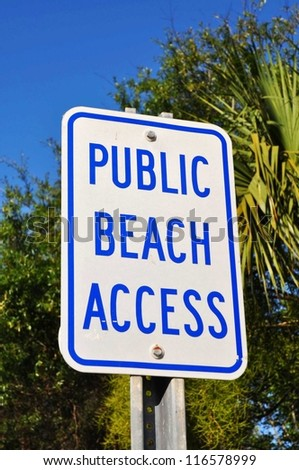 Public Beach Access Sign