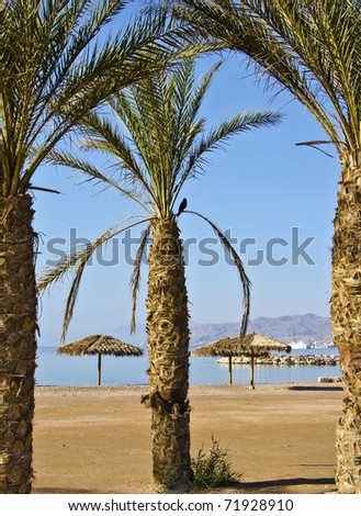 Public beach in Eilat city, Israel - stock photo