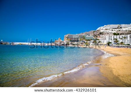 Public beach of Puerto Rico on Gran Canaria. Spain. - stock photo