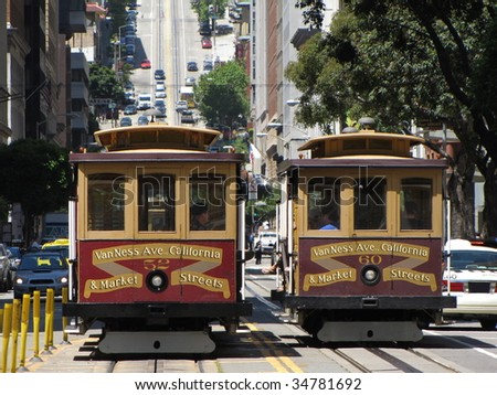 public cablecar at san francisco - stock photo