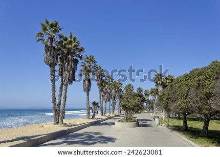 Public city Beach in San Buena Ventura and distant Channel Islands, Southern California - stock photo