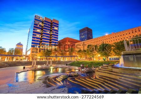 Public  Citygarden in downtown st. louis at twilight - stock photo