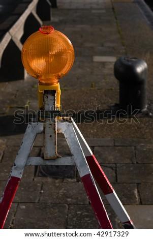 Public construction warning - stock photo