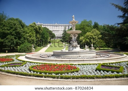 public garden free access next to Royal palace at Madrid Spain