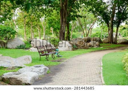Public garden walkway on suanluangrama9 bangkok - stock photo