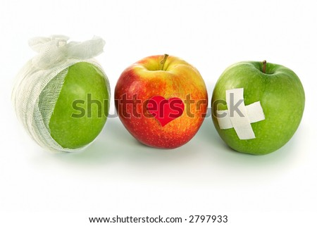 Public health services-opposition of a healthy way of life to illnesses and bad habits - stock photo