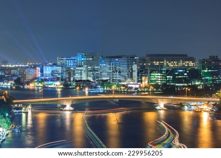 Public Hospital at dust in the river, Bangkok, Thailand - stock photo