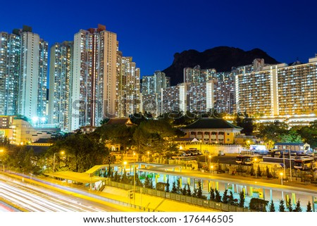 Public housing in Hong Kong at night