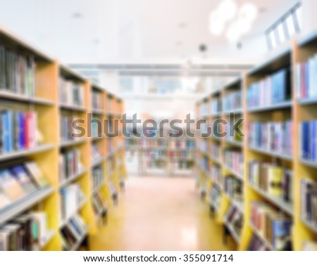 Public Library Bookshelf Out Of Focus