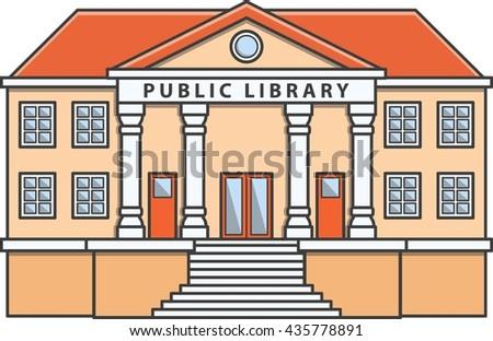 Public library Doodle Illustration cartoon - stock photo