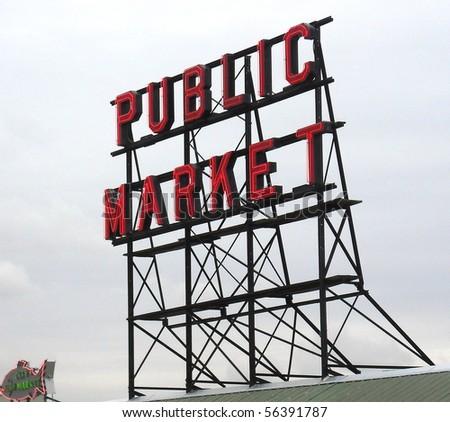 Public market sign in Seattle Washington. - stock photo