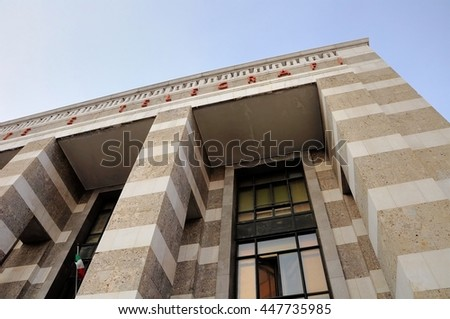 Public office of Post and Telegraph. Brescia, Italy. Architecture of the '30s. - stock photo