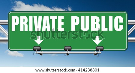 public or private school hospital area property domain or insurance road sign  - stock photo