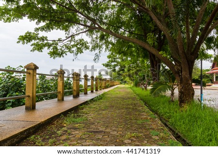 public park with walkway under green trees