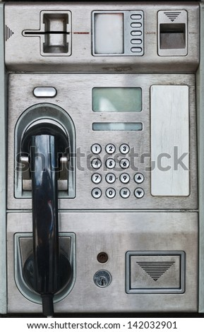 Public payphone card telephone interface - stock photo
