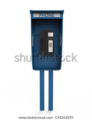 Public Payphone Isolated on White Background - stock photo