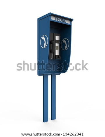 Public Payphone Isolated on White Background - stock photo
