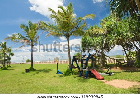 Public Playing Area For Kids Near A Tropical Beach In Sri Lanka. Sri Lanka Is Endowed With Over A Thousand Miles Of Beautiful Beaches That Is Making The Ideal Destination For A Beach Holiday