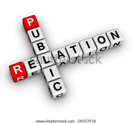 Public Relation (3D crossword series) - stock photo