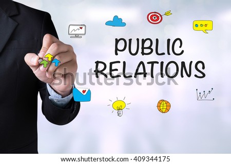 PUBLIC RELATIONS and Businessman drawing Landing Page on blackboard - stock photo