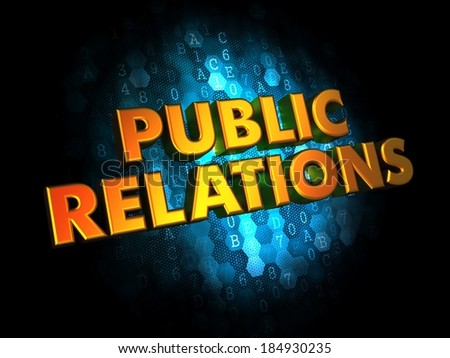 Public Relations Concept - Golden Color Text on Dark Blue Digital Background. - stock photo