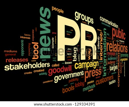 Public relations concept in word tag cloud on black background - stock photo