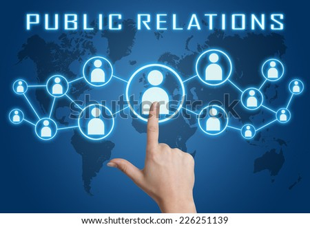 Public Relations concept with hand pressing social icons on blue world map background. - stock photo