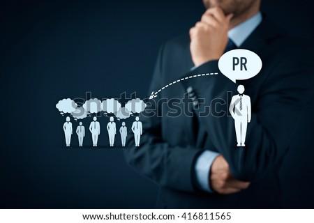 Public relations (PR) concept. Businessman think about PR services (public relations) and its impact to public. - stock photo