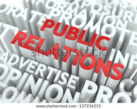 Public Relations (PR) Concept. The Word of Red Color Located over Text of White Color.