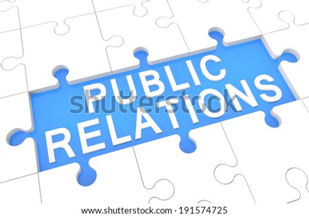 Public Relations - puzzle 3d render illustration with word on blue background - stock photo