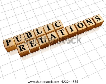 public relations - text in golden cubes with black letters 3D illustration, business pr and advertisement concept words - stock photo