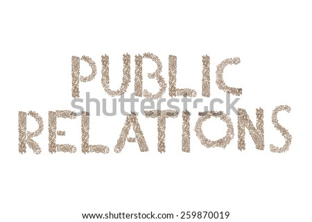 Public Relations written in letters formed with wooden cubes with letters isolated on white background - stock photo