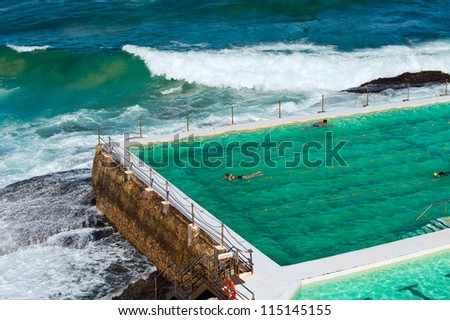 Public rock pool in ocean