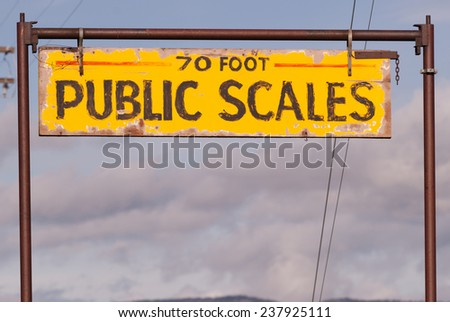 Public Scales Sign Vintage Agriculture Area Clearing Storm - stock photo