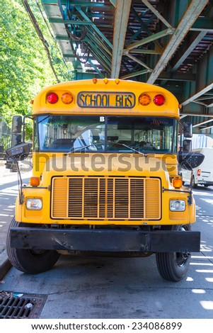 Public School Bus on the Road - stock photo