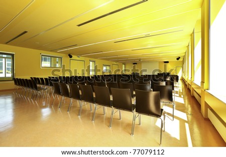 public school, classroom interior - stock photo