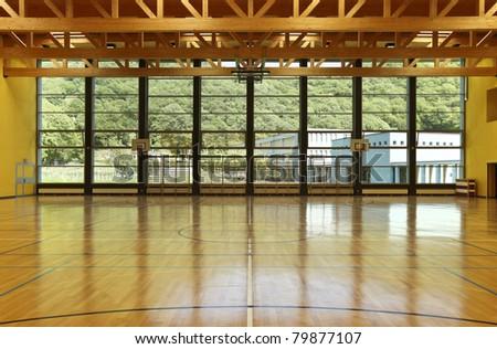 public school, interior wide gym - stock photo