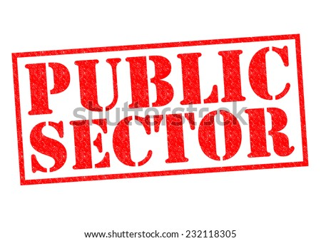 PUBLIC SECTOR red Rubber Stamp over a white background. - stock photo