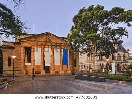 Public services building with free entry - the art gallery of South Australia. Facade and entrance to the gallery at sunset.