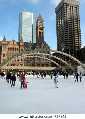 Public skating rink in downtown Toronto - stock photo