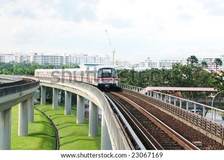 Public Subway Transport on Concrete Bridge View - stock photo