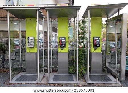 Public telephone - stock photo
