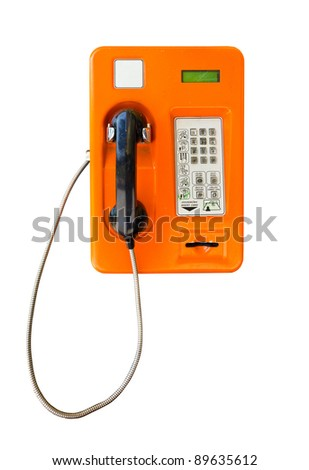 public telephone card in Thailand isolated on white with clipping path - stock photo