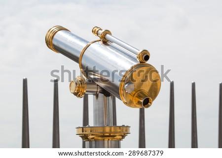 Public telescopes for observing the landscape - stock photo