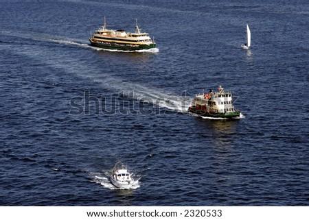 Public Transport Ferries, Sydney Harbour Bay, Australia - stock photo