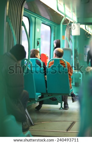 Public transport interior - stock photo